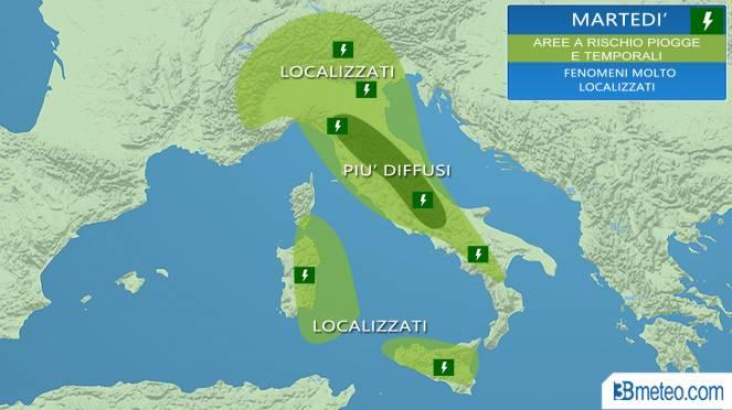 Meteo Italia: aree a rischio piovaschi o temporali martedì