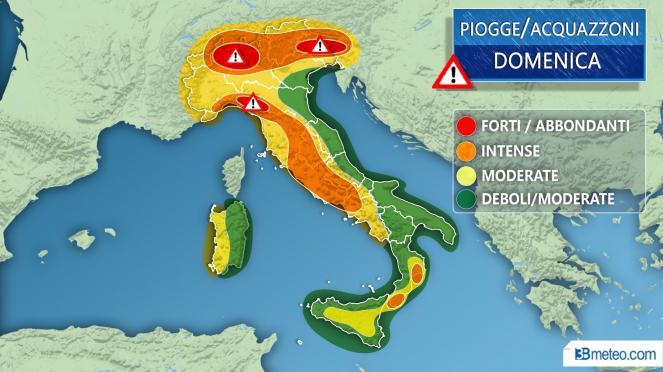 Meteo Italia: forte maltempo domenica