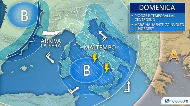 Meteo Italia: la previsione per domenica