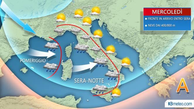 Meteo Italia: la previsione per mercoledì