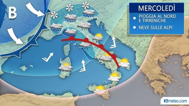 Meteo Italia: la situazione prevista mercoledì