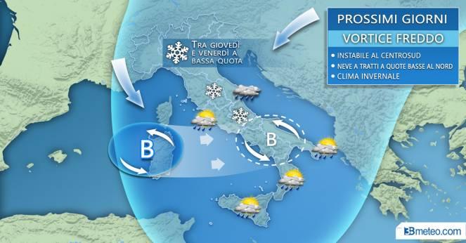 Meteo Italia: tra giovedì e venerdì vortice freddo con pioggia e neve