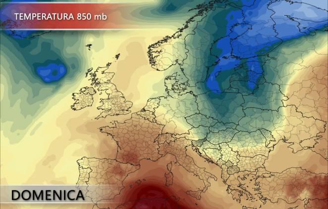 Temperatura 850 mb per domenica 24/06 - pivotalweather.com