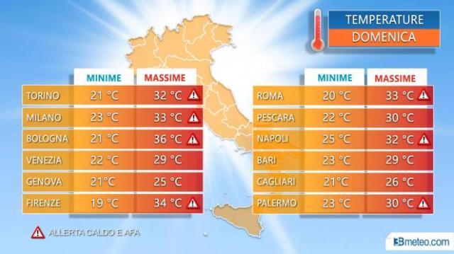 Temperature massime nelle principali città nella giornata di domenica