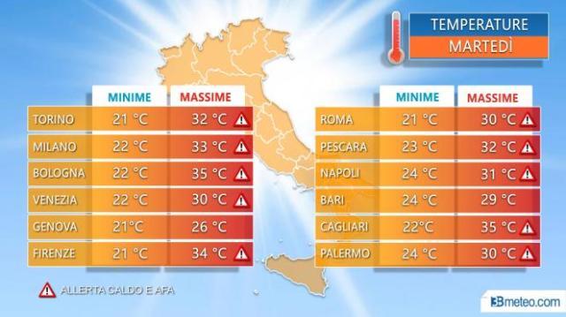 Temperature massime nelle principali città nella giornata di martedì