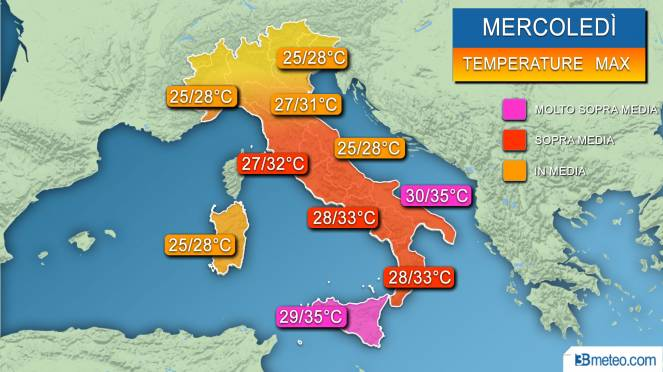 Temperature massime previste mercoledì