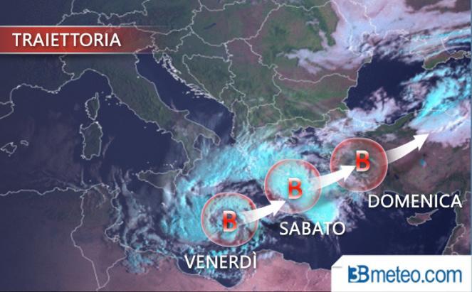 Traiettoria prevista del ciclone mediterraneo
