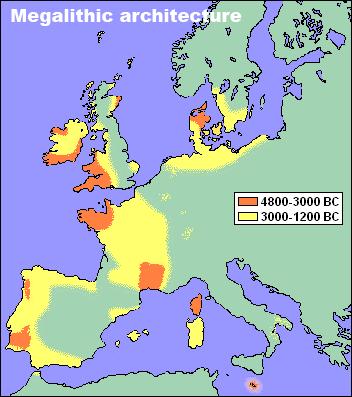 Aree con presenza di megaliti in Europa