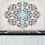Brown And Blue Kitchen Curtains 2 Panel Set Window Drapes 55 X 39 Ambesonne