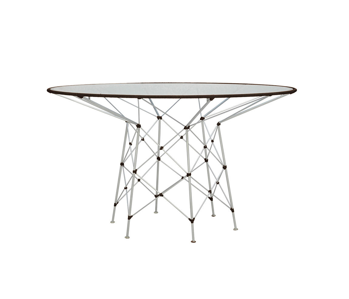 Whisk Glass Top Dining Table Round 130
