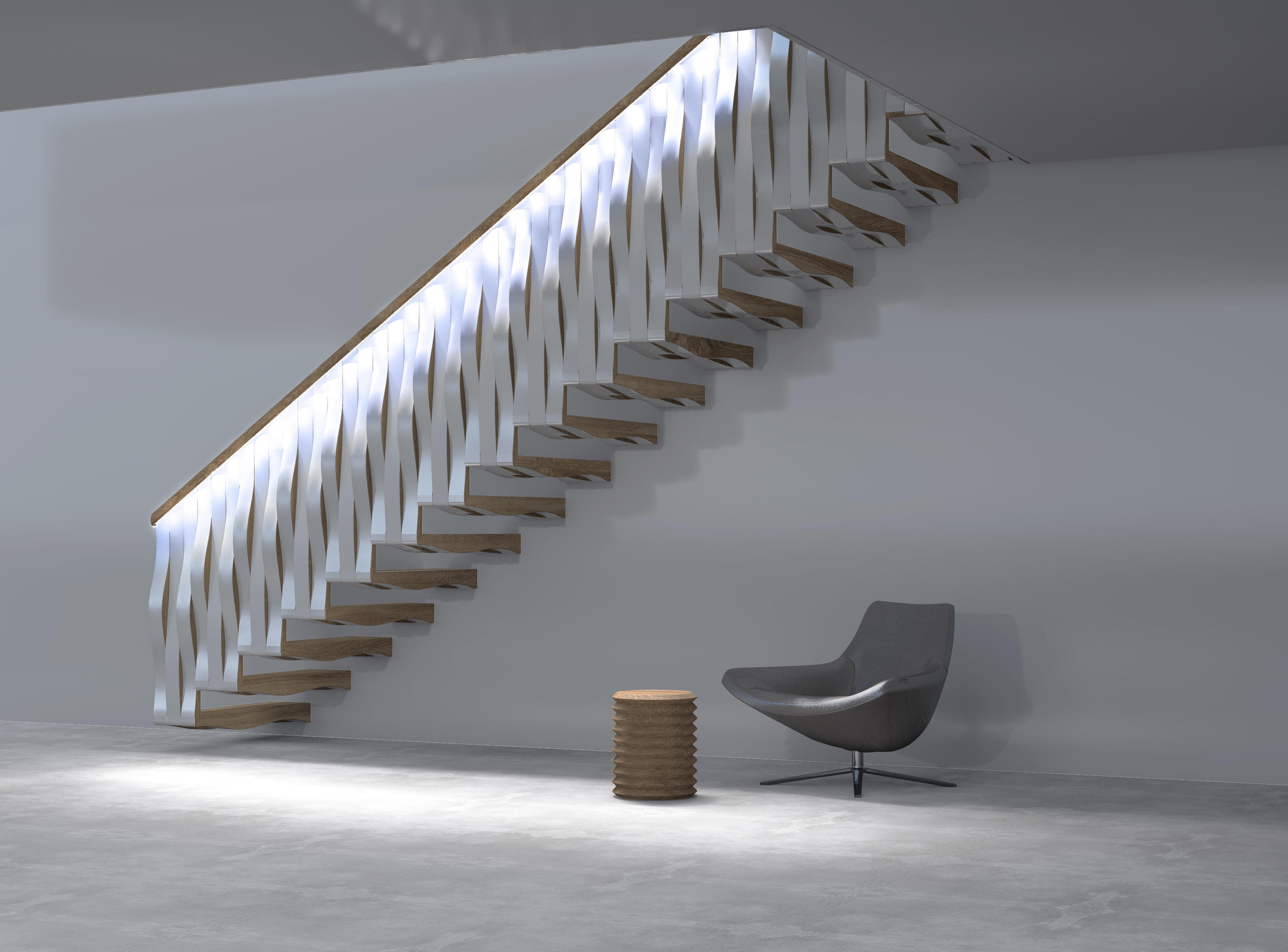 Wave Rail Staircase Systems From Siller Treppen Architonic | Chair Rail On Stairs | Double | Traditional | Stained Wood | Remodeling | Wainscoting