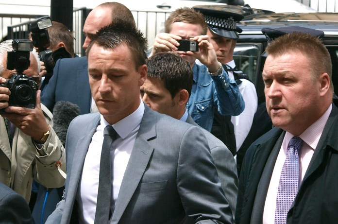 John Terry arriving at Westminster Magistrates Court in 2012