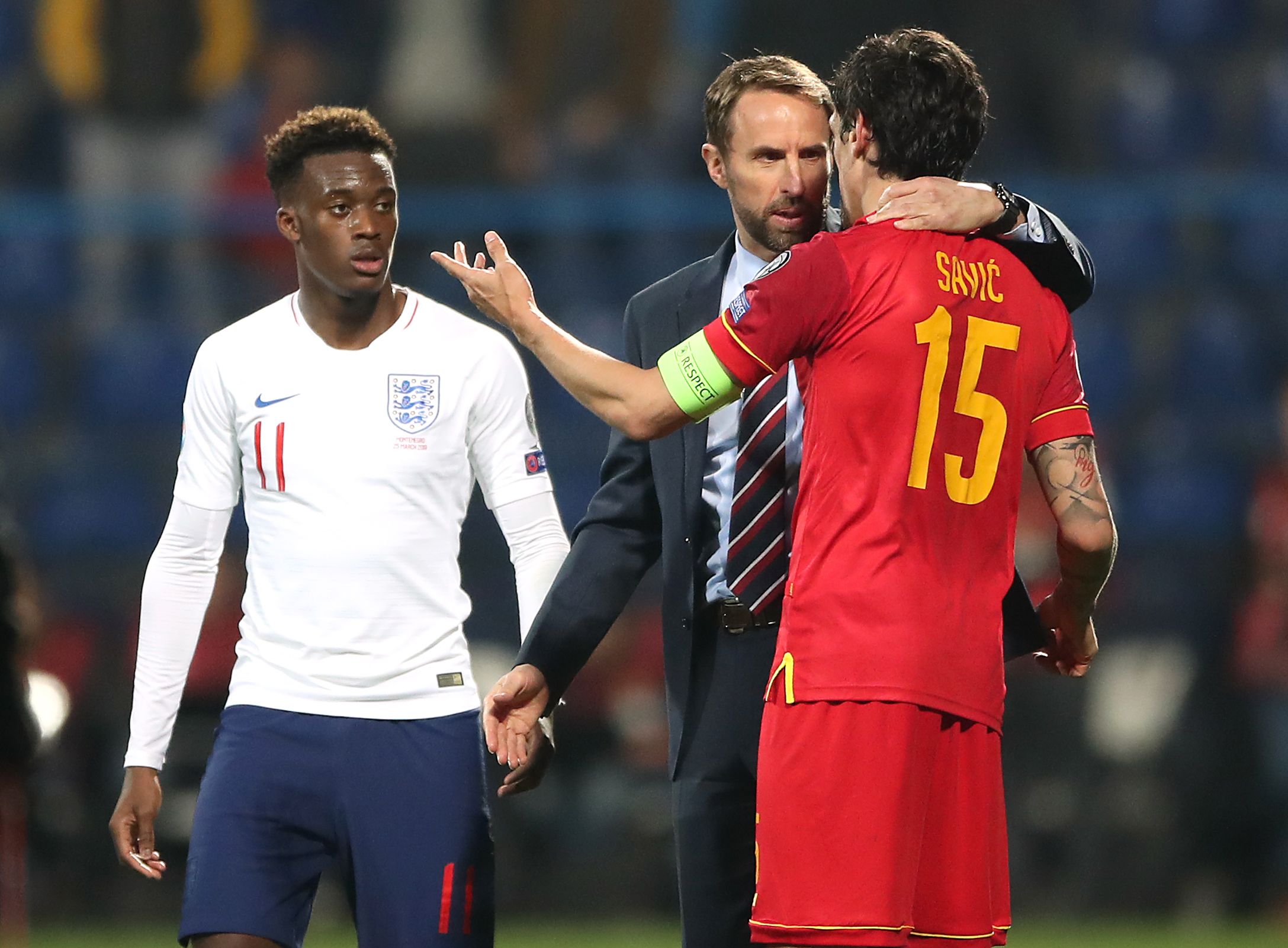 Callum Hudson-Odoi, left, was subjected to racist abuse in Montenegro