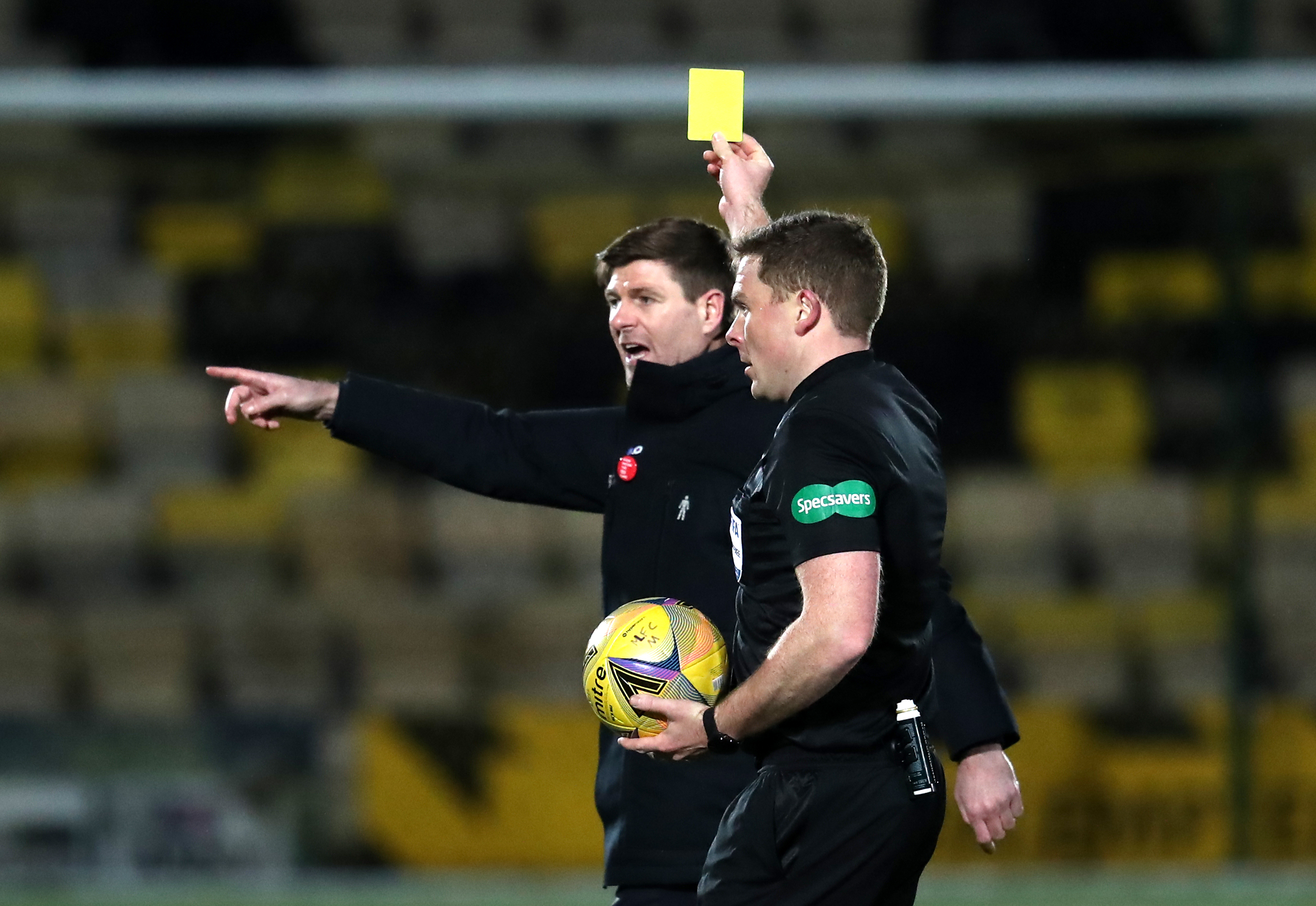 Steven Gerrard hits referee John Beaton while Rangers beats Livingston