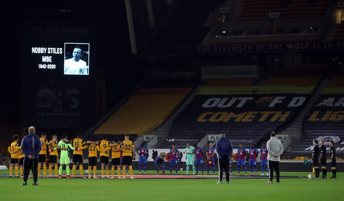 Wolves and Crystal Palace observe a minute's silence for Stiles before their Premier League match at Molineux