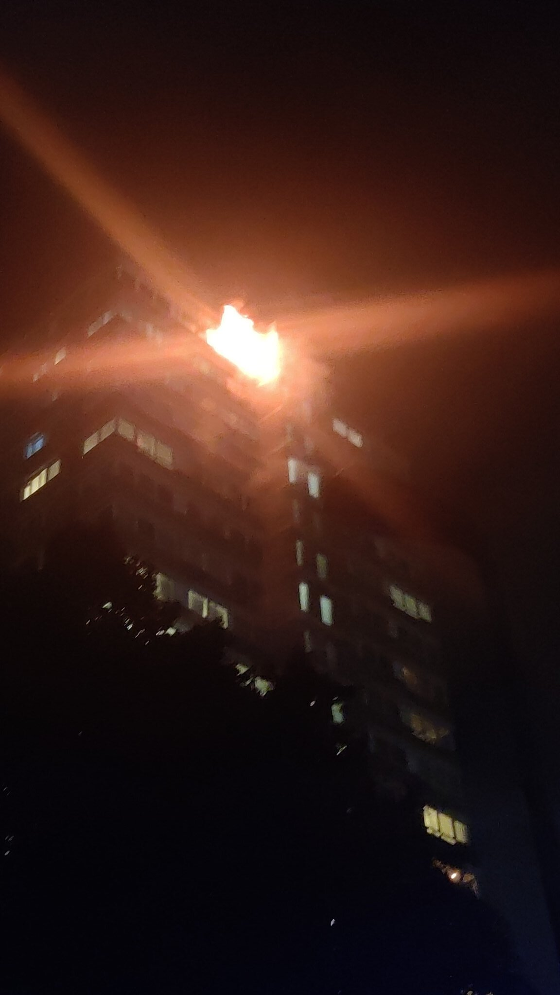 A fire at a tower block on Westbridge Road in Battersea, south-west London