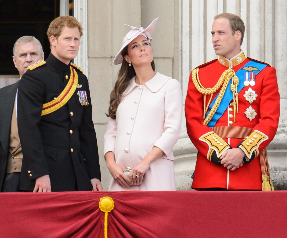 Prince Harry, the Duchess of Cambridge who was pregnant with Prince George, and the Duke of Cambridge on the balcony of Buckingham Palace following the 2013 Trooping the Colour parade (Dominic Lipinski/PA)