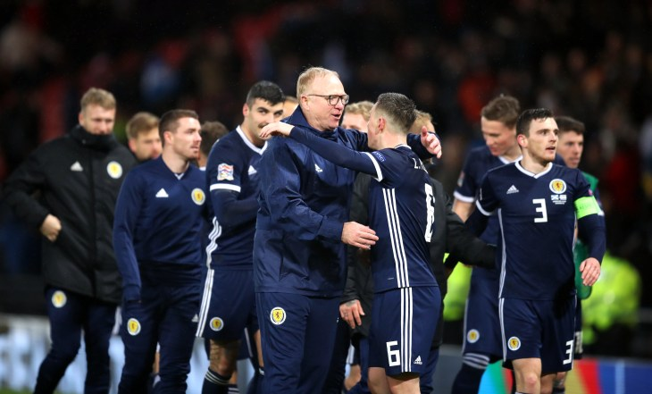 Scotland celebrate the Nations League win over Israel that earned them a home play-off berth