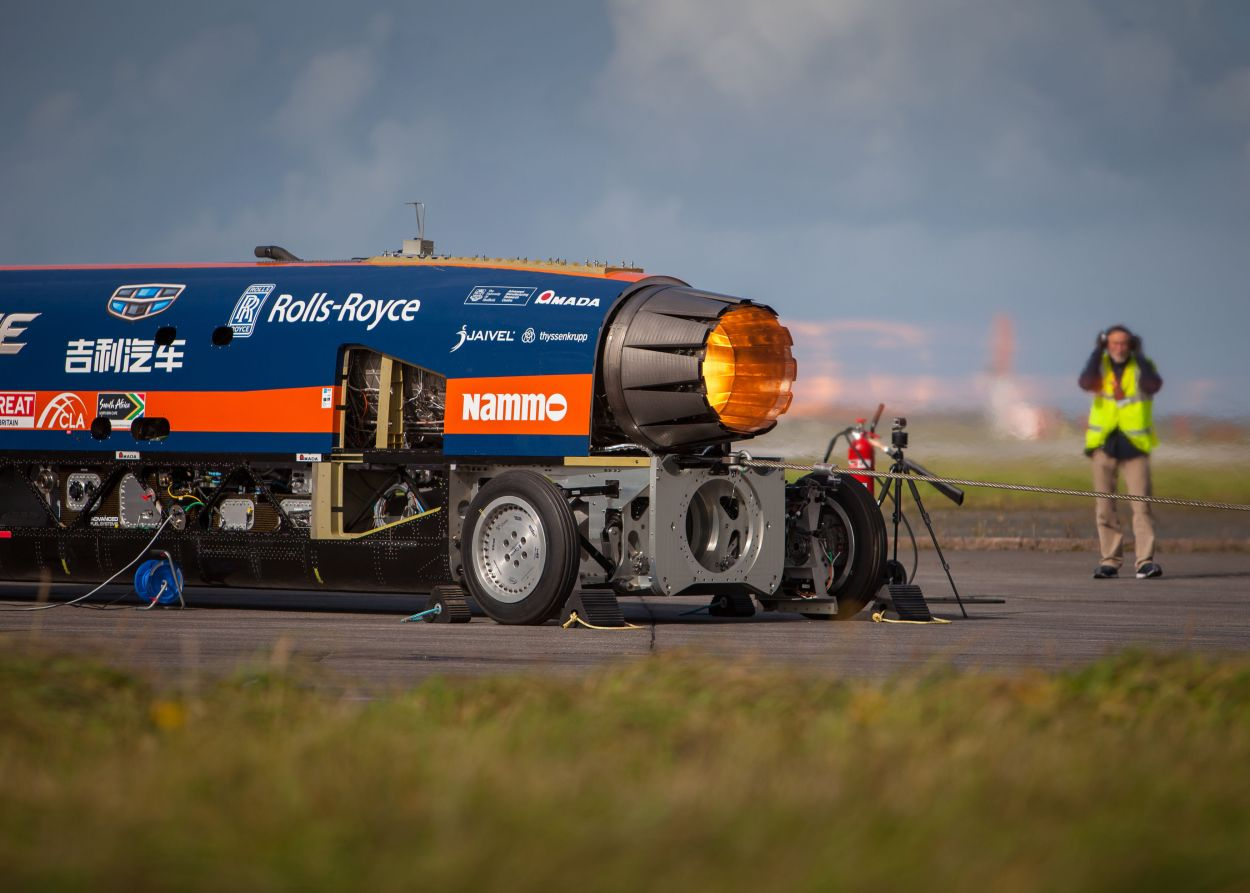 The Bloodhound 1,000mph supersonic racing car during a trial at Cornwall Airport Newquay (Stefan Marjoram/PA)