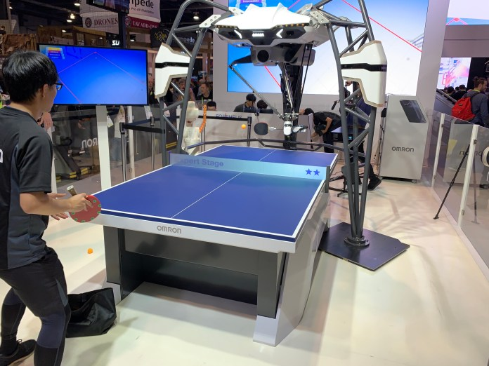 The Omron artificial intelligence-powered FORPHEUS robot,