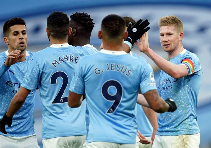 Kevin De Bruyne (right) was highly impressive in a convincing City win