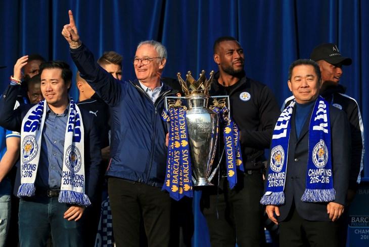 Claudio Ranieri celebrates winning the Premier League title with Vichai and Aiyawatt Srivaddhanaprabha