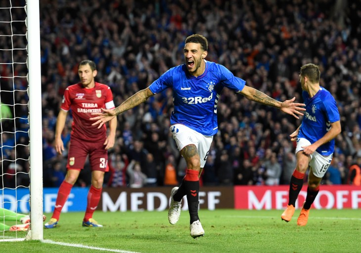 Connor Goldson scored against Russian outfit Ufa to help Rangers qualify for the Europa League group stages