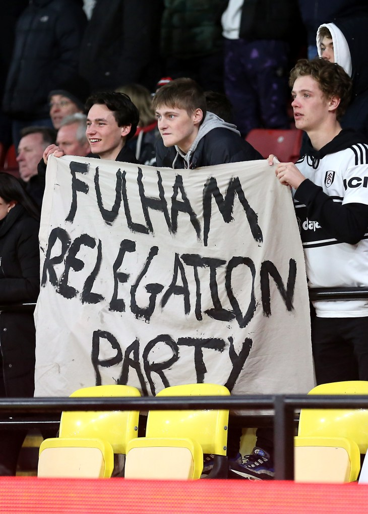 Fulham fans with a banner during the match at Watford