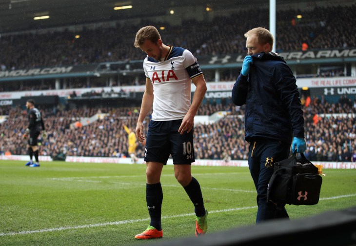 Kane limped off against Millwall a few months later after hurting his other ankle