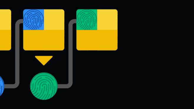 Dãy băm của mỗi khối được đặt trong khối tiếp theo. Điều này tạo thành các chuỗi các khối (blockchain).