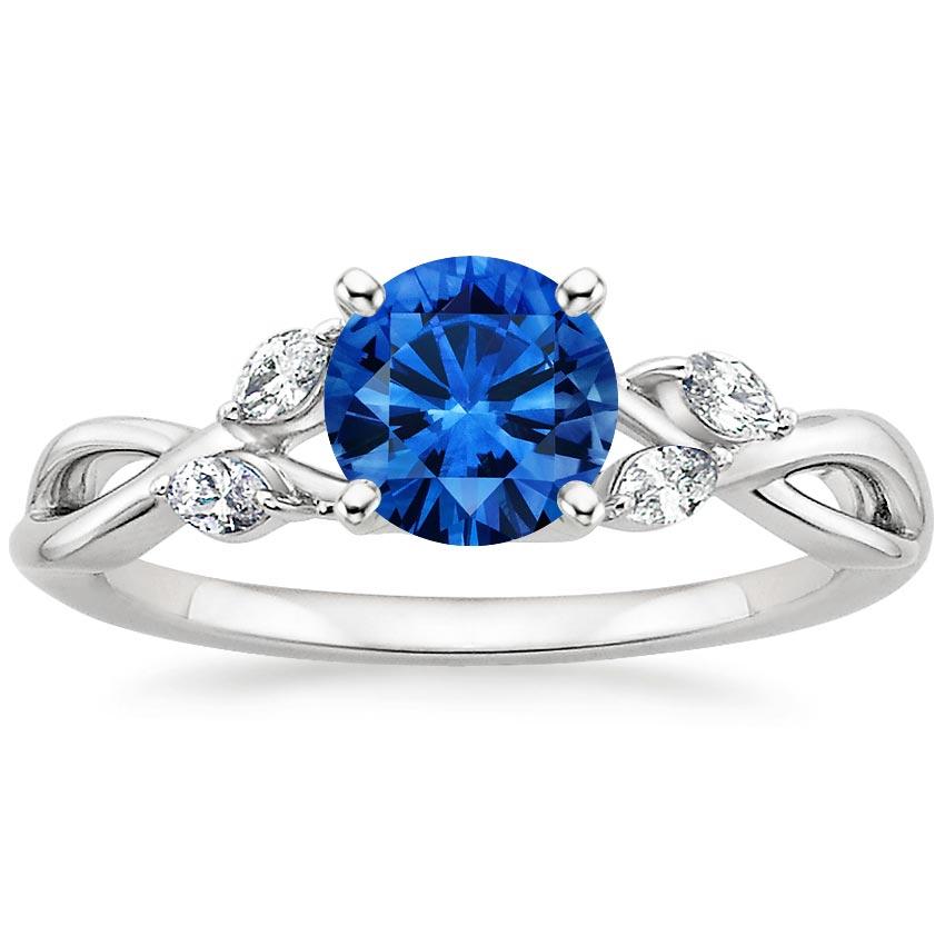 Sapphire Willow Diamond Ring In 18K White Gold