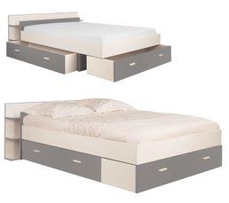 lit 140x190 cm avec rangements tonight coloris blanc et gris