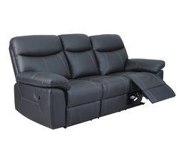 canape 3 places 2 relax manuel arezzo cuir et pu noir
