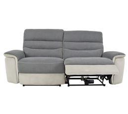 canape 3 places 2 relax electrique seattle microfibre gris et gris perle