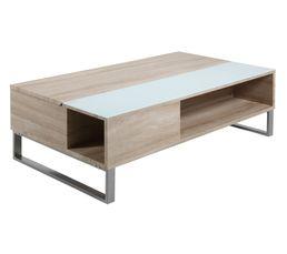 table basse plateau relevable azalea blanc et chene