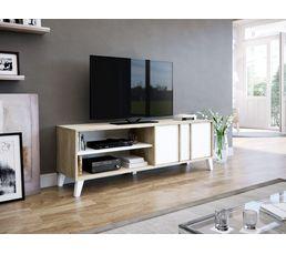 meuble tv scandinave otawa chene et blanc
