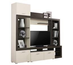 meuble tele lester bois noir et blanc