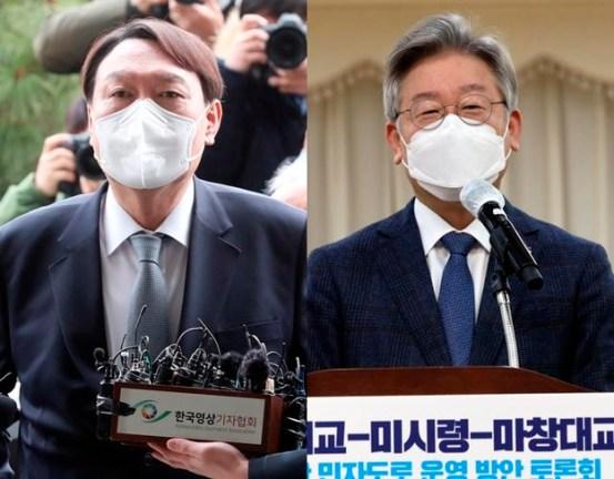 차기 대선 승인률, 윤석열 26.8 % 이재명 25.6 %… '정권 교체'다수