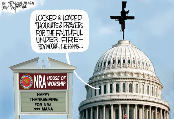 "In response to mass shootings,Congress will never offer more than ""thoughts and prayers"" as long as it's beholden to contributions from the gun lobby."