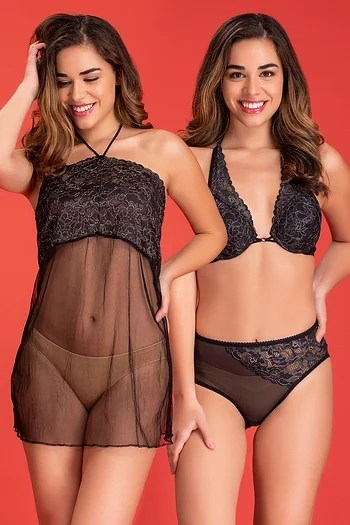 Back listing image for Bra & Panty Set with Sheer Babydoll & Thong in Black - Lace