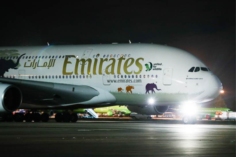 An Airbus A380-800 passenger plane of the Emirates Airlines at Moscow's Domodedovo Airport.
