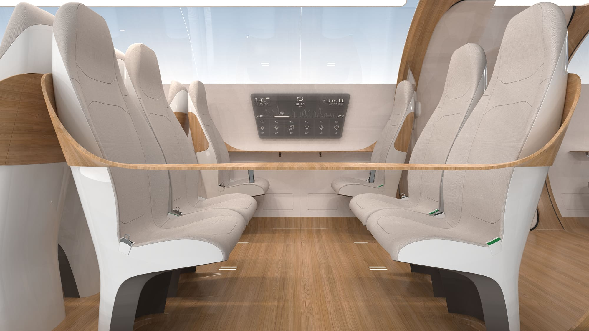H/O: Delft University hyperloop pod social interior 190717