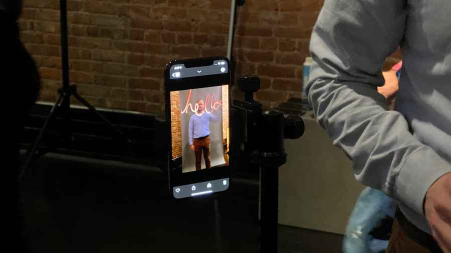 A demo of Spectre at the Apple app awards event in New York City. Todd Haselton | CNBC