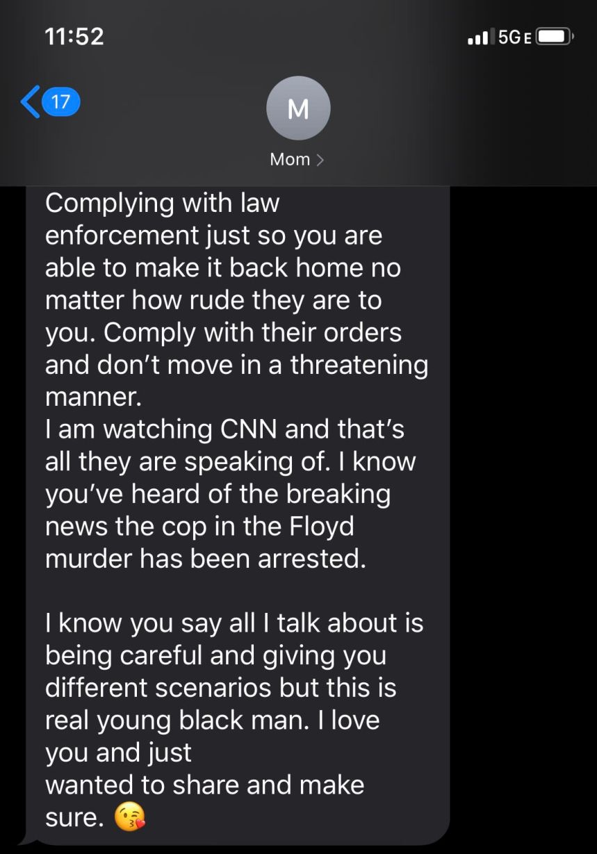 A screenshot of the text Woumn's mom sent to him.