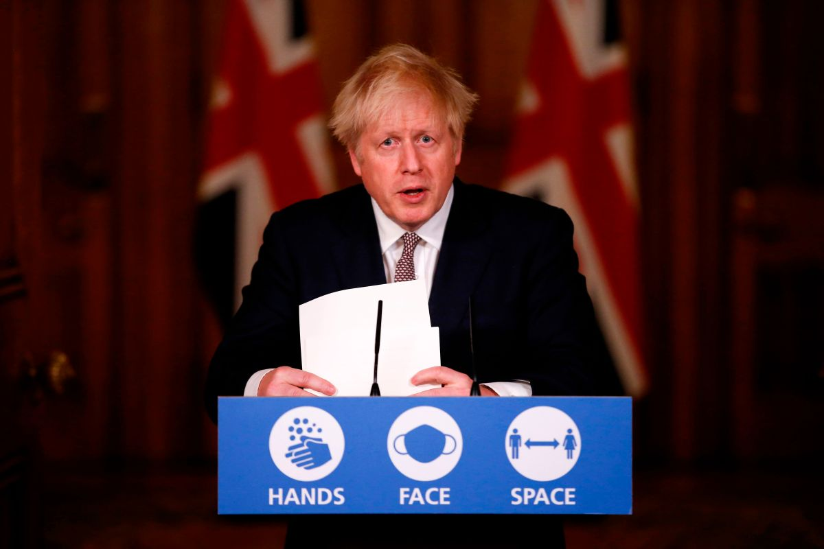 Britain's Prime Minister Boris Johnson attends a virtual press conference inside 10 Downing Street in central London on Nov. 26, 2020.