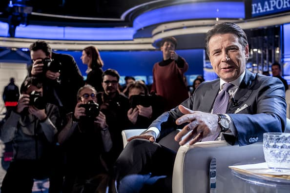 Italy's Prime Minister Giuseppe Conte attends RAI's broadcast talk Show Porta a Porta on January 08, 2019 in Rome, Italy.