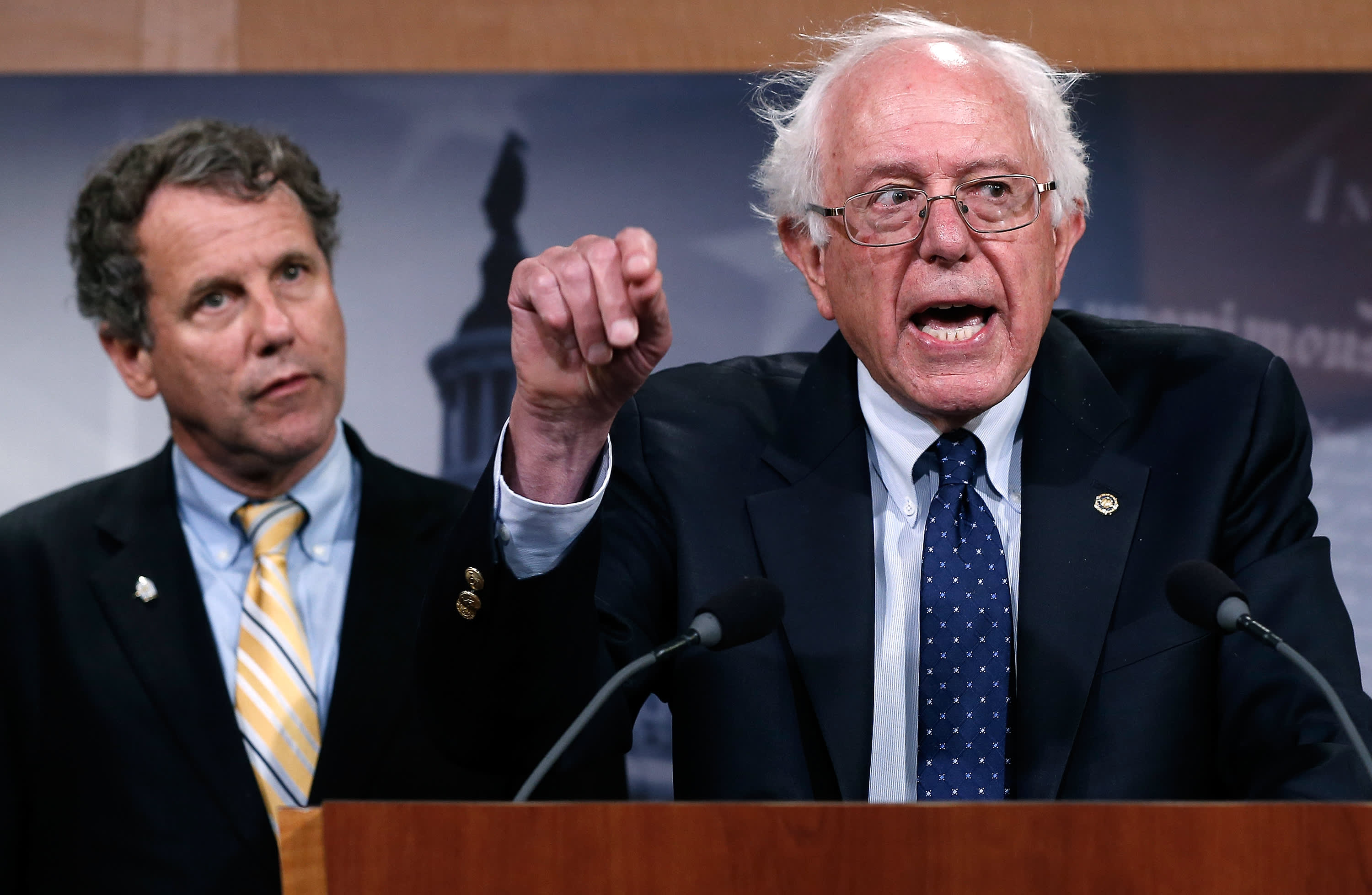 Sen. Bernie Sanders (I-VT) during a press conference at the U.S. Capitol July 24, 2014 in Washington, DC. Sanders, chairman of the committee, has indicated disagreement with the House legislative proposal to address problems with the Department of Veteran