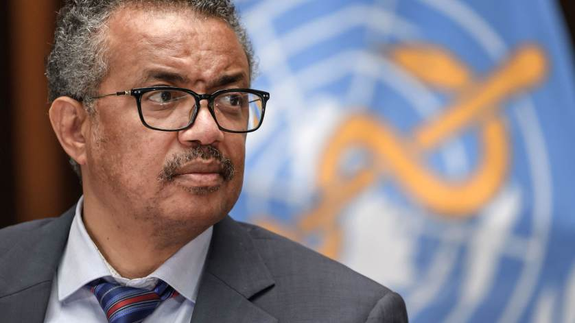 World Health Organization (WHO) Director-General Tedros Adhanom Ghebreyesus attends a press conference organised by the Geneva Association of United Nations Correspondents (ACANU) amid the COVID-19 outbreak, caused by the novel coronavirus, on July 3, 202