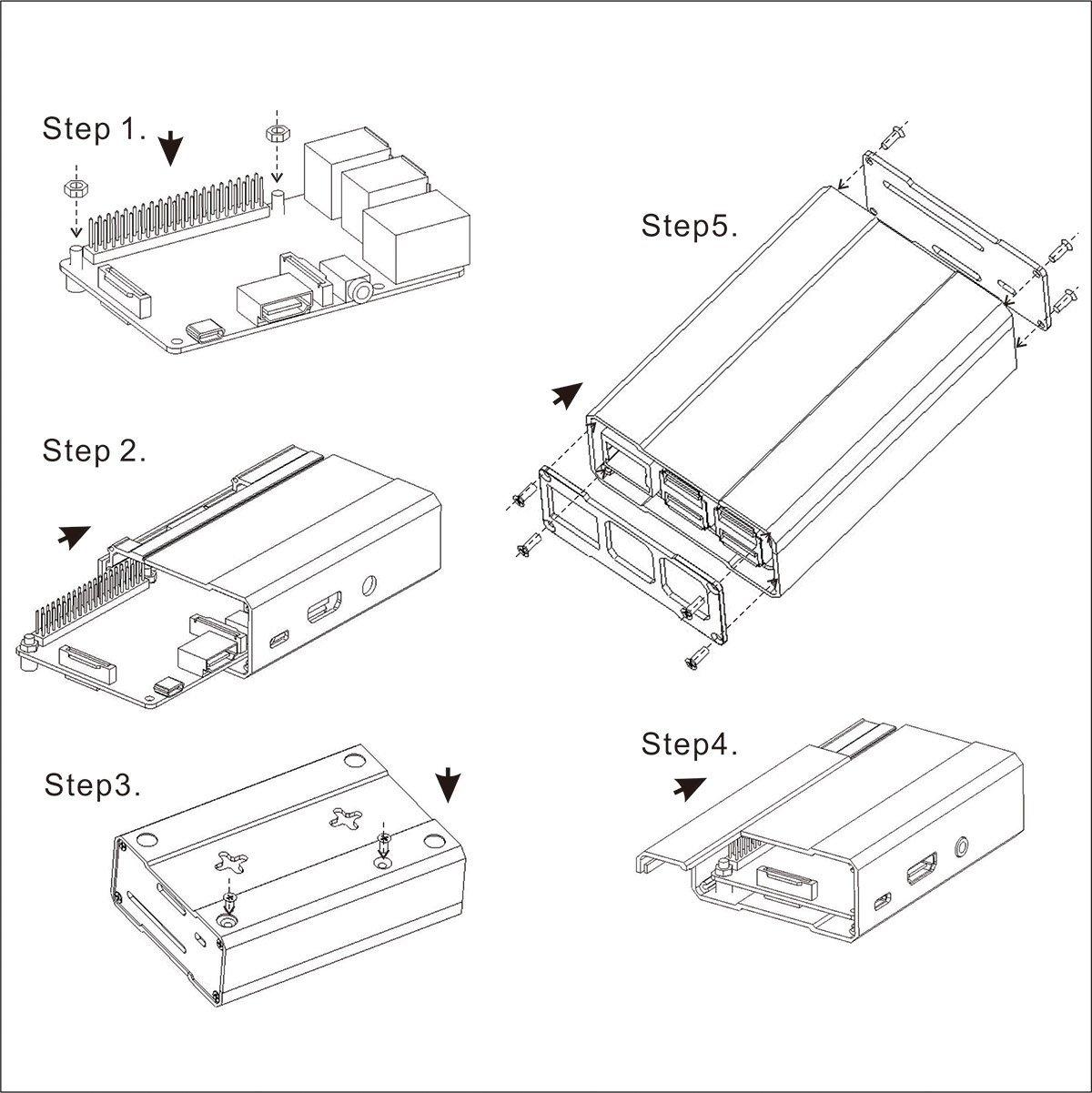 Aluminum Alloy Metal Case For Raspberry Pi B 2b 3b Fit