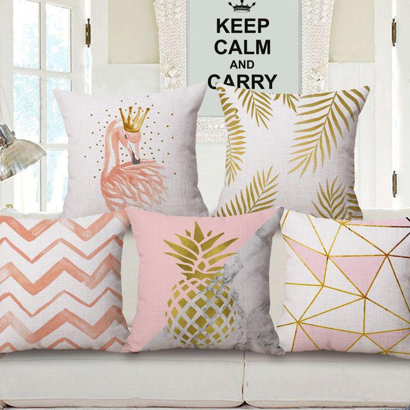 acheter 11 styles nordic golden dream grand coussins couvre jaune plume ananas flamingo geometrique plaid rose housse de coussin canape taie d oreiller en
